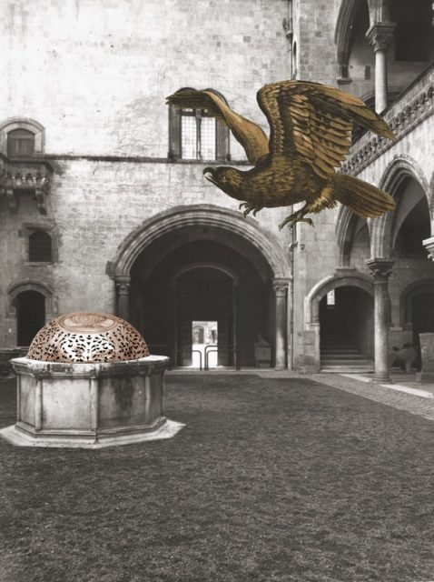 Eagle and Orb in a Courtyard