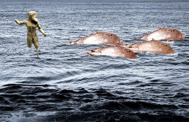 Poseidon Herding Dolphins