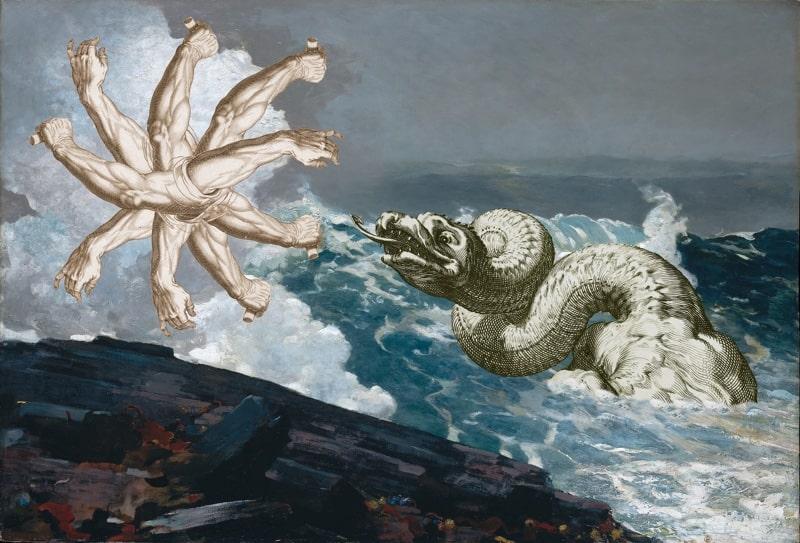 9. Sea-Creature Breaching in a Storm