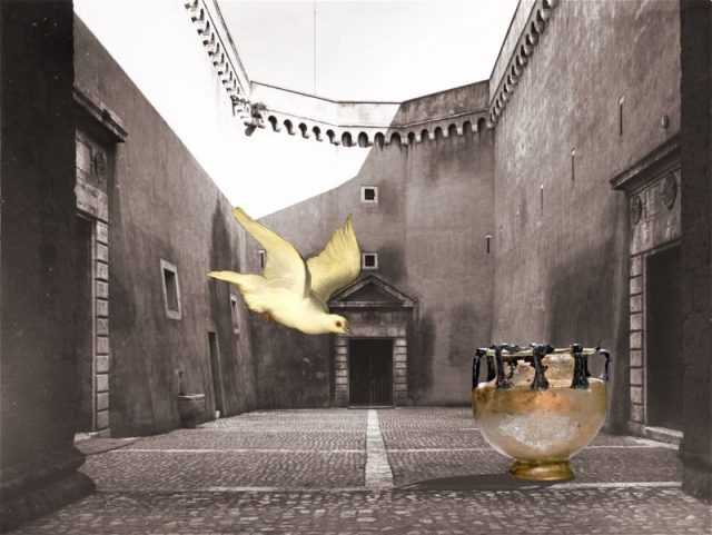 Vessel and Bird in a Courtyard