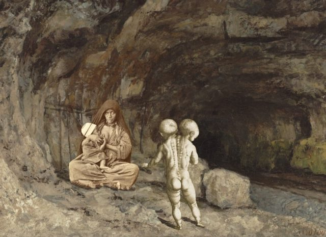 Woman with Baby and Child Near a Cave