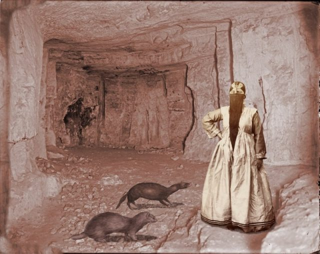 Woman with Ferrets in a Cave