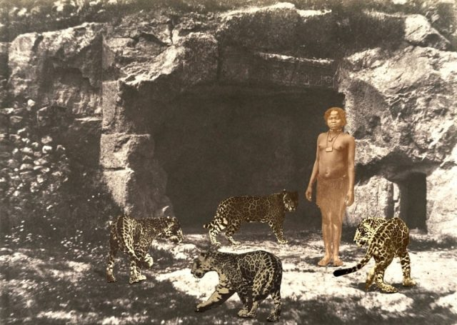 Woman with Leopards at a Threshold