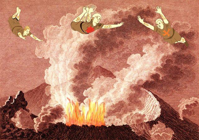 sailors over a volcano